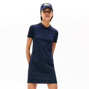 Lacoste LIVE Stretch Piqué Polo Dress in Navy Blue